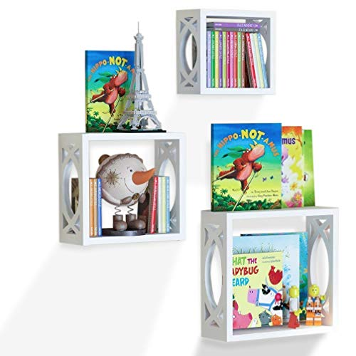 Children's Square Cube Wall Shelves Set 3 Pcs - Display Kids Favorite Books, Photos, and More – Beautifully Carved Side Panels and Open Back Design (White) by BGT