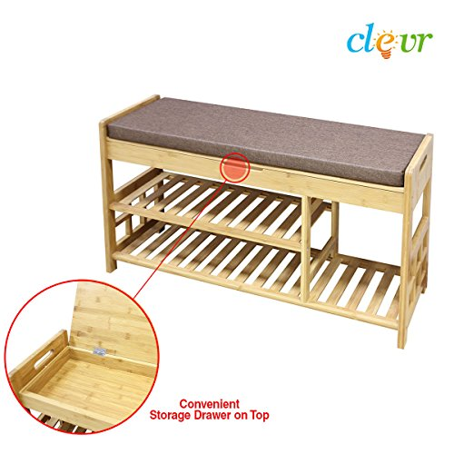 Clevr Natural Bamboo Shoe Storage Rack Bench with 2-Tier Storage Drawer on Top (Wooden All Bench Storage Natural)