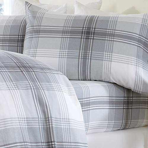 Extra Soft Plaid 100% Turkish Cotton Flannel Sheet Set. Warm, Cozy, Luxury Winter Bed Sheets. Belle Collection (Full, Grey)