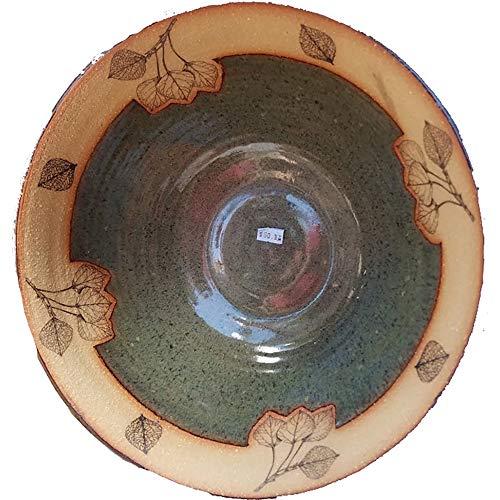 14 Inch Large Serving Bowl in Aspen Leaf design and Seamist glaze