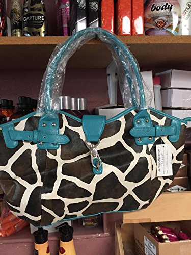 Giraffe Hobo Handbag - Alyssa Giraffe Print Leather Fushia Trim Hobo Purse Bucket Handbag