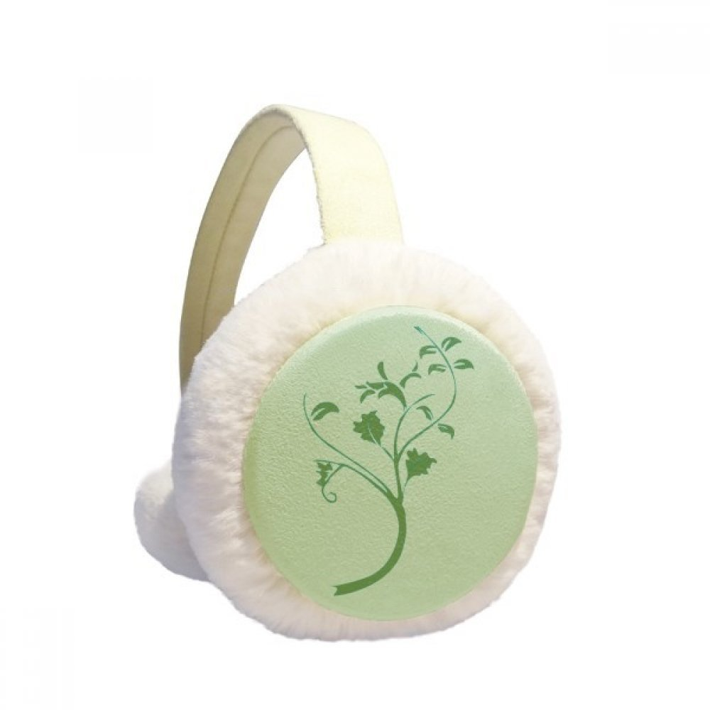 Green Leaves Branches Flowers Winter Earmuffs Ear Warmers Faux Fur Foldable Plush Outdoor Gift