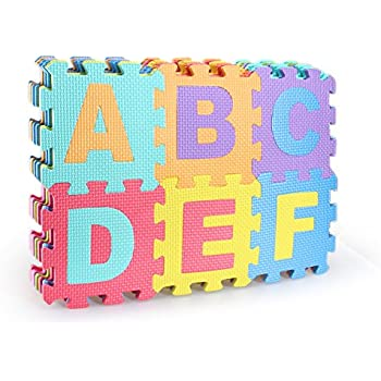 Amazon Com Foam Floor Alphabet And Number Puzzle Mat For