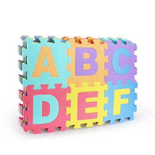 Letter Mats (36 Piece Play Puzzle Mat Colorful Foam Playmat Non-toxic and Tasteless alphabet puzzle abc & number play mat for Kids Baby)