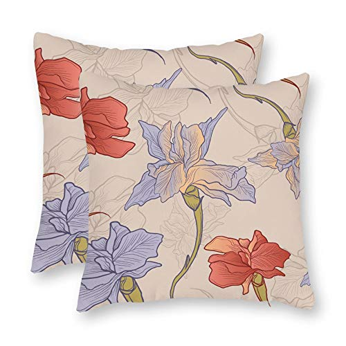 ract Iris Flower Hand Drawn Seamless Pattern Square Throw Pillow Cover Canvas Pillow Case Sofa Couch Chair Cushion Cover for Home Decor ()
