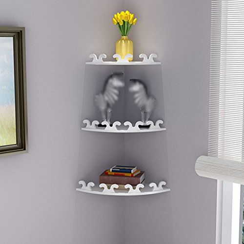Hty zwj Wall-Mounted Shelf Storage Corner Bookcase Wall-Mounted Bedroom Set of 3 Radius 22 cm / 25 cm / 28 cm 2 Types White (Color : 1#, Size : Radius -