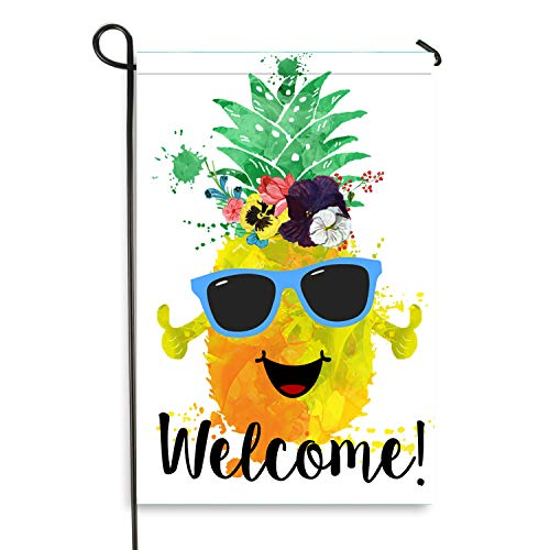 (Pineapple Welcome Garden Flag, Vertical Double Sided Outdoor Yard Decor(12 x 18 Inch))