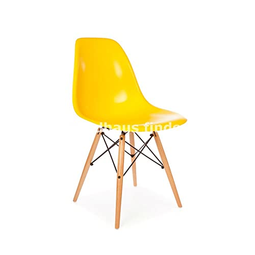 Set of 2 Mid Century Modern Eames Style DSW Yellow Side Dining Chair with Dowel Wood Metal Base