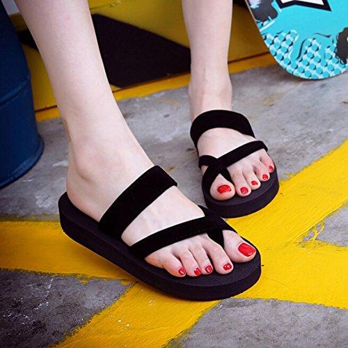 IGEMY Frauen Open Toe Flip Flops Sommer kühlen beiläufige flache Strandsandalen ab Schwarz
