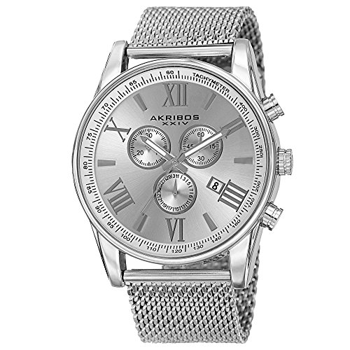 Father's Day Gift - Akribos XXIV Swiss Chronograph Quartz Watch - Round Radiant Sunburst Dial - Stainless Steel Mesh Strap - Omni Men's Dress Watch - AK813 -Silver