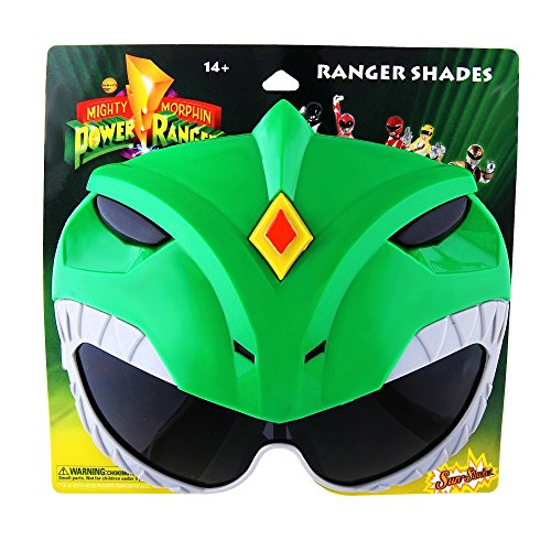 Sunstaches Mighty Morphin' Power Rangers Green Power Ranger Sunglasses, Party Favors, UV400 ()