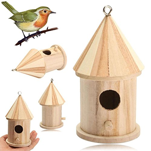 Gorgeous Eyelet (DDLBiz Cute Wooden Bird Nest House Bird House Bird Box a Metal Eyelet for Hanging)