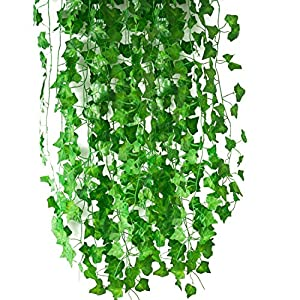 DiDaDi 83 Ft-12 Pack Artificial Fake Hanging Plant Leaves Foliage Green Leaves Garden Wall Decoration Ivy Vine Plants for Home Decor 95