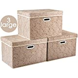 Prandom Larger Collapsible Storage Cubes with Lids Fabric Decorative Storage Bins Boxes Organizer Containers Baskets with Cover Handles for Bedroom Closet Living Room 17.7x11.8x11.8 Inch 3 Pack