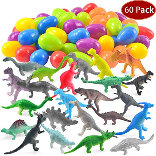 (JOYIN 60 Pack Easter Eggs with Prefilled Dinosaur Toys Easter Basket Stuffers Easter Party Favors for Kids )