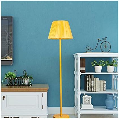 Moderne Stehleuchte Einfache Gelbe Schmiedeeisen Stehleuchte Kreative Plissee Stoff Lampenschirm Stehlampe Für Studie Wohnzimmer Büro Schlafzimmer Café Loft, H155cm E27