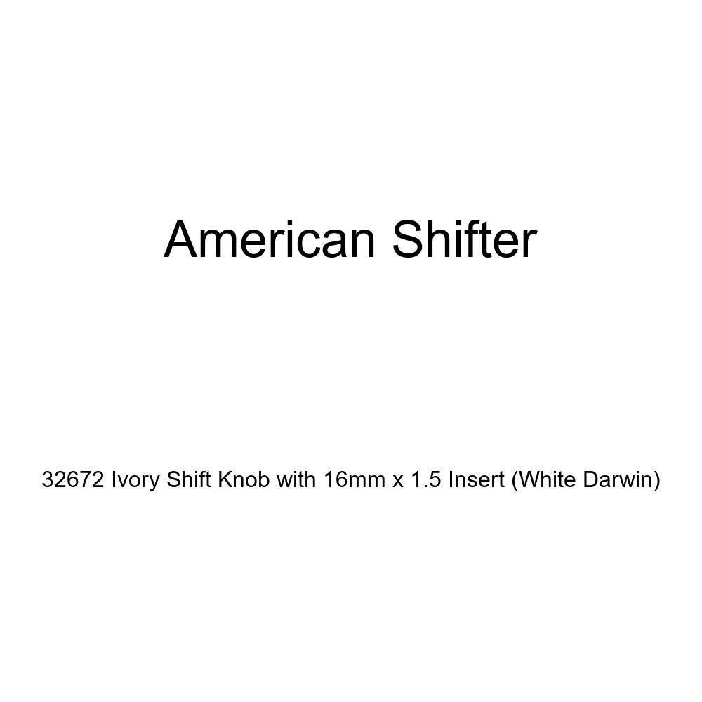 American Shifter 32672 Ivory Shift Knob with 16mm x 1.5 Insert White Darwin