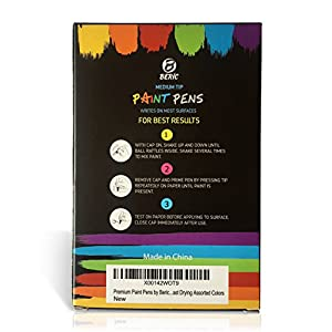 Premium Paint Pens by Beric 12 pack, Oil-based Paint Marker, Medium Point, Writes on Almost Anything, Water and Sun Resistant Vibrant Colors Low Odor Long Lasting Fast Drying Assorted Colors