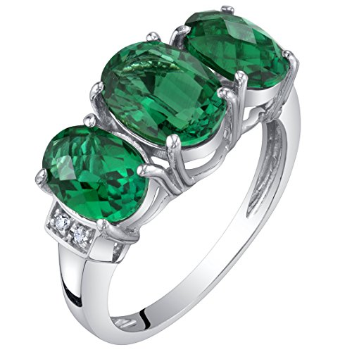 14K White Gold Created Emerald and Diamond Three Stone Triune Ring 2 Carats Size - 14k Ring Diamond Cluster Gold