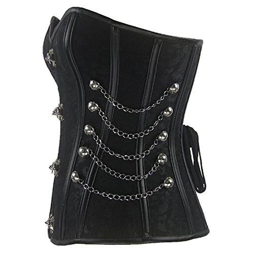 Burvogue Mujer Steampunk Top Corsé Cintura Entrenamiento Bustier Body Shaper negro