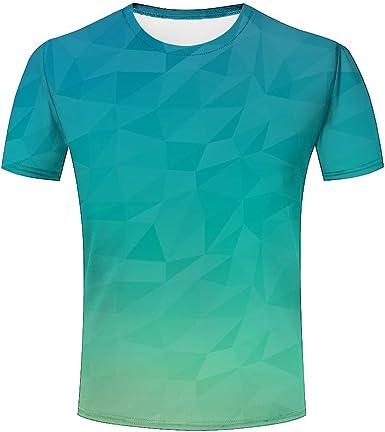 Camiseta para Hombre Verde geométrico Funny Impreso Camisetas ...