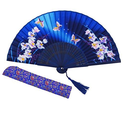 Amajiji 8.27 Women Folding Fan Hand Fan,Chinease/Japanese Vintage Retro Style (HQJ-22)
