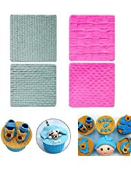 PalkSky (Set of 4)Fondant Impression Mat, Knitting Sweater & Crochet Texture Embossed Design- Silicone-Cake Decorating Supplies for Cupcake Wedding Cake Decoration