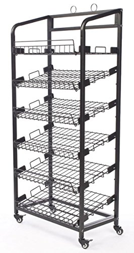 Displays2go Steel Baker's Rack with Wheels 6 Wire Shelves, Black by Displays2go