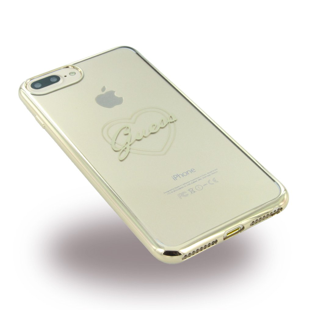 Guess GUHCP7LTRHG Signature Heart TPU Schutzhülle für Apple iPhone 7 Plus Gold