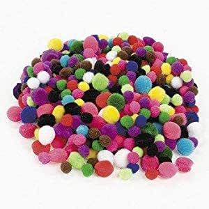 Tiny Acrylic Craft Pom Poms - 500 Pieces - Assorted Colors and Sizes