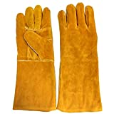 Mouchelion Heat-Resistant Leather Welding Gloves with Long Cuff Fleece Lined MIG/ TIG/ Stick Gloves BBQ Grill Gardening Gloves 16-Inch One Size Fits All