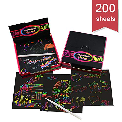 DLOnline 200 Sheets Rainbow Scratching Notes,Rainbow Scratch Off