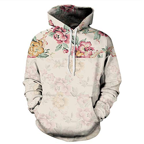 WOCACHI Mens Hoodies 3D Floral Pullover Unisex Hooded Couples Casual Sweatshirt Deal Autumn Winter Warm Tops Blouses Shirts