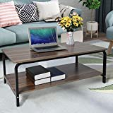Modern Coffee Tea Table,Double Storage Space Wooden Side Table/End Table with Black Metal Frame