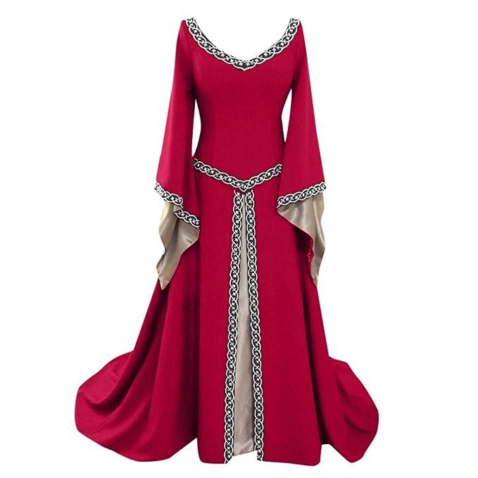 1e20c042de45d Xmiral Mujeres Vestido para Disfraz Cuello en V Estilo Retro Medieval Dress  Largo Manga Larga Original