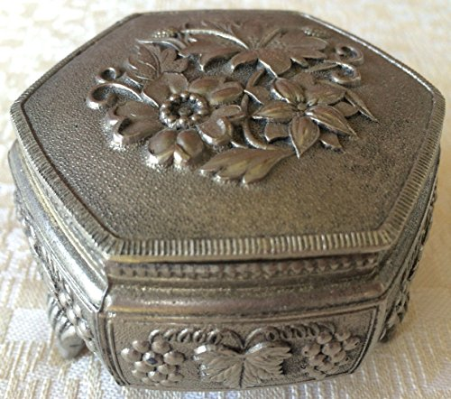Vintage Japanese Silver-Plated Embossed Jewelry/Trinket Box (8166)