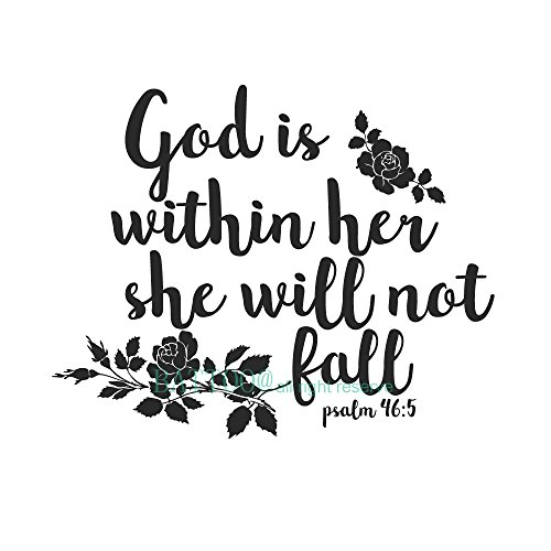 BATTOO Psalm 46:5 Bible Wall Decal Quote - God is Within her she Will not Fall - Teen Girl Vinyl Decal Religious Wall Art Christian Word Vinyl Lettering(Black, 27.5