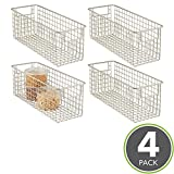 mDesign Household Wire Storage Organizer Bin Basket with Built-In Handles for Kitchen Cabinets, Pantry, Closets, Bedrooms, Bathrooms - 16' x 6' x 6', Pack of 4, Satin