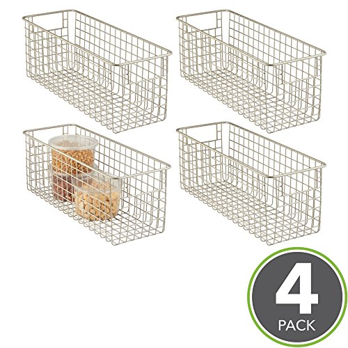 mDesign Household Wire Storage Organizer Bin Basket with Built-In Handles for Kitchen Cabinets, Pantry, Closets, Bedrooms, Bathrooms - 16