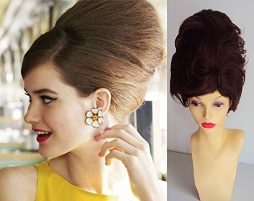 Deluxe Short Brown Mod 60's Beehive Bouffant Fashion Costume Wig (Beehive Costume Wig)