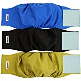 Wegreeco Washable Male Dog Belly Wrap - Pack of 3 - (Black,Blue,Olive,Small)