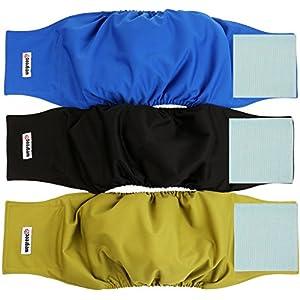 Wegreeco Washable Male Dog Belly Wrap - Pack of 3 - (Black,Blue,Olive,Medium)