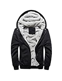 Guandoo Mens Sherpa Lined Full Zip Fleece Hoodie Jacket