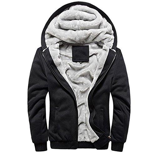 Guandoo Mens Sherpa Lined Full Zip Fleece Hoodie Jacket Coat, Black, (Black Full Zip Fleece)