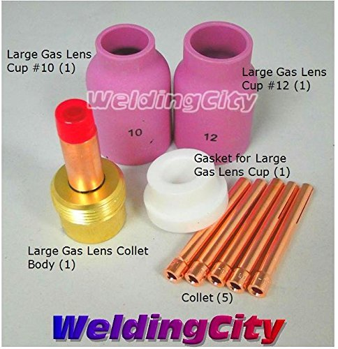 WeldingCity Large Gas Lens Accessory Kit 3/32 Cup-Collet-Large Gas Lens-Gasket TIG Welding Torch 17/18/26 TAK18 by (Collet Accessory)