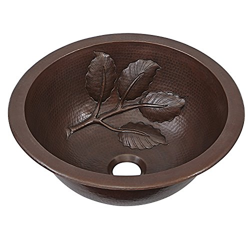 Sinkology BRD-1405BC Newton Dual Mount Handmade Pure Solid Bathroom Sink with Leaf Design, 14'', Aged Copper by Sinkology