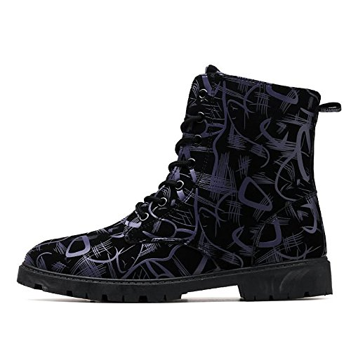 Chunky Shoes Scuro up Blu EU 2018 Fashion da 39 uomo Stivaletti Stivali Color Style Heel Leisure Lace scuro da Blu Uomo British Dimensione zw6CqznBYf