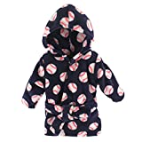 Luvable Friends Coral Fleece Bathrobe, Baseball, 0-9 Months