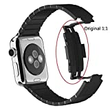 HappyCell® Link bracelet band replacement for apple watch,Link Bracelet 316L stainless steel Watchband For Apple watch Band Luxury For iWatch Band Original replacement (42mm Black Band Replacement)