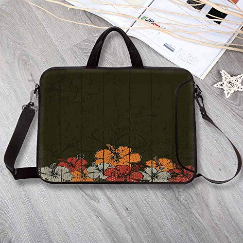 Floral Portable Neoprene Laptop Bag,Abstract Wooden Backdrop with Hawaiian Romantic Flowers Buds Blooms Leaves Laptop Bag for Travel Office School,15.4